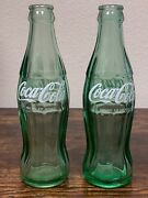2 Coca Cola Green Glass Bottles Made In Mexico Glass Spanish Coke 143