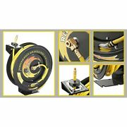 3/8 300 Psi Retractable 100and039 Ft Air Hose Reel Professional Industrial Grade