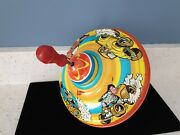 Vintage Antique Metal Tin Spinning Top Racing Cars Ohio Art Kids Childs Play Toy