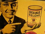 Rare Vintage Shaler Rislone Motor Oil Advertising Metal Sign Oil And Gas