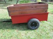 Vintage Garden Trailer With Hand Crafted Sideboards Dump Cart Utility Trailer