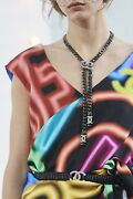 Nwt 20a Metal And Strass Ruthenium Cc Logo Iconic Necklace
