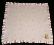 Classic Winnie The Pooh Pink Sweet Flower Security Blanket Floral Satin 15 X 15