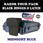 Us Stock Midnight Blue Razor Tour Pack Black Hinges Latch Fit 97+ Harley Touring