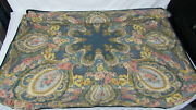 """950 Etro Italy """"home Collection"""" Throw / Dark Blue, Yellow And Pink / Victorian"""