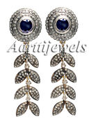 Victorian 4.85ct Rose Cut Diamond Blue Sapphire Earrings Shop Early And Save