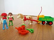 Vintage Playmobil 3713 Pony Ranch Cart And Horse Set