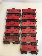 Lot Of 10 At And Sf 4427 Red Caboose O Scale Gauge Train