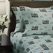 Berkshire Peanuts 4 Piece Snoopy I Like Naps Blue Black White Queen Sheet Set