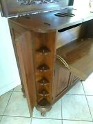 Antique Liquor Bar Cabinet Wood Hand Carved Ancient Asian Scene See Video