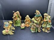 Vintage 8 Piece Large Detailed Crafted Set Ceramic Nativity Figurines Christmas