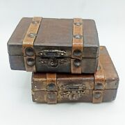 Boxes Very Old Thuya Moroccan Wooden Jewelry Wood Handmade Leather Decorative