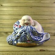 Laughing Hotei Buddha Of Wealth And Prosperity Antique Blue China Porcelain 1950