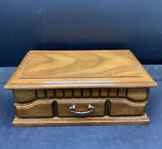 Vintage Two Layer Wood Jewelry Box Watch Ring Organizer Display Case