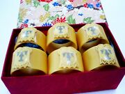 Set 6 Antique Art Nouveau Celluloid Napkin Rings/inset Initial Silver 't' And Box