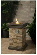 Outdoor Fire Pit Column Bowl Propane Gas Square Stone Patio Fireplace Heater