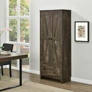 Rustic Wood Utility Storage Cabinet Brown Farmhouse Cupboard Shelves With Drawer