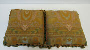 980 Etro Italy Home Collection Decorative Pillow Set X2 / Mustard Paisley