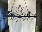 Vtg Bronzed Wrought Iron Hanging Wall Candle Gothic Spanish Revival Candelabra
