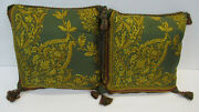 940 Etro Italy Home Collection Decorative Pillow Set2 /olive And Gold 100 Silk