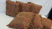 2250 Etro Italy Home Collection Decorative Pillow Set X6 / Red Paisley