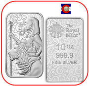 2021 Great Britain Una And The Lion 10 Oz 0.9999 Silver Bar - Great Engravers