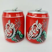 Vintage 1999 Coca Cola Enjoy Coke Ceramic 3.5 Cans Salt And And Pepper Shakers
