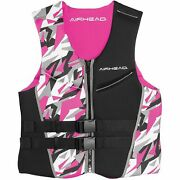 Airhead Camo Cool Neolite Kwik-dry Womenand039s Pink Life Vest Med. 15003-09-b-pi