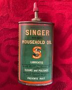 Vintage Old Oval Lead Top Singer 3 Oz Sewing Machine Oil Tin Can