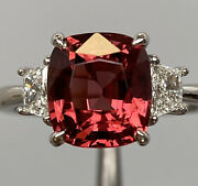 4.5 Ct Red Burma Antique Cushion Spinel And Trapezoid Diamond Ring Platinum
