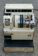 Vintage Antique Burroughs Cash Register Machine W Key And Drawer Very Heavy Solid