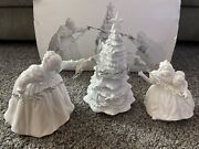 Department 56 Winter Silhouette Putting Up The Tree White Porcelain Set Of 3