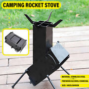 Folding Camping Rocket Stove Portable With Handle Wood Alcohol Burner Cooki