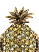 Topaz Crystal Pineapple Ring Size S Aged Gold Tropical Band 503980 Jewelry