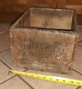 Vtg Universal No. 1 Food Meat Chopper Grinder Wood Shipping Crate Box Antique