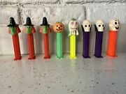 Set Of 8 Vintage Halloween Skull Witch Pumpkin And Monster Pez Dispensers - Loose