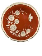 """Lichie Veb Red Decorative Plate Flowers And Butterfly 12"""". Exquisite"""