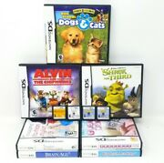 Nintendo Ds 11 Game Lot Brain Age 1 And 2, Shrek, Dogs And Cats, Catz, Horsez, Alvin