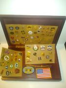 Junk Drawer Lot Of Vintage Navy Military And Olympic And Yankees Football Pins And Box