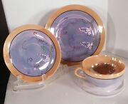 Vintage Lustreware Snack Set 14-pc Plate Cup And Saucer Luster Ware Japan