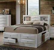 4pcs Modern White Queen Size Storage And Book Case Bed Master Bedroom Furniture