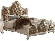 Formal Traditional Carvied Tufted Upholster Furniture Pearl Finishqueen Size Bed