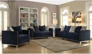 Navy Blue Sofa And Love Seat Stainless Steel Legs Living Room Furniture Set 2pc