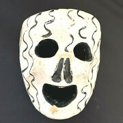 Anitique Mexican Hand Carved Hand Painted Skull Mask