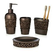 Essentra Home 4-piece Bronze Bathroom Accessory Set - Bronze Collection