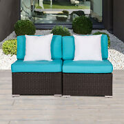 2 Pcs Outdoor Patio Rattan Sofa Loveseat Couch Garden Furniture With 2 Pillows