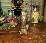 Antique Vtg Ac Williams Dime Store Cast Iron Be Wise Owl Bird Still Penny Bank
