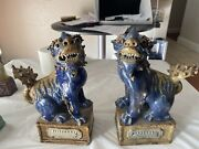 A Pair Of Fine Antique Chinese Purple Glazed Foo Dogs Figure Statue Qing Dynasty