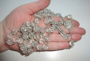 19c French Crucifix Cross Sterling S Double Capped Rock Crystal Filigree Rosary
