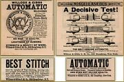 4 1883 - 88 Willcox Gibbs Automatic Sewing Machine Doctor Orders Print Ads
